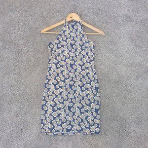 Blue/White Daisy Print Halter top mini dress